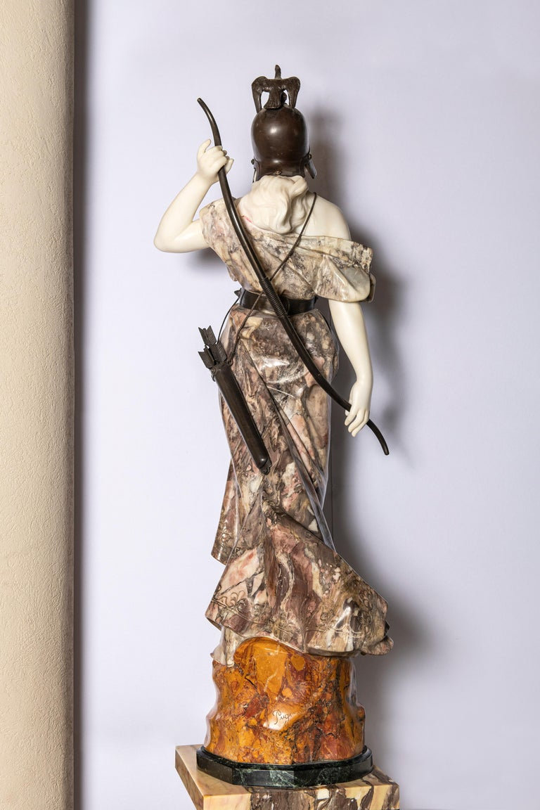 Italian Marble and Broze Artemisa Sculture, Signed Pugi, Italy, circa 1870 For Sale