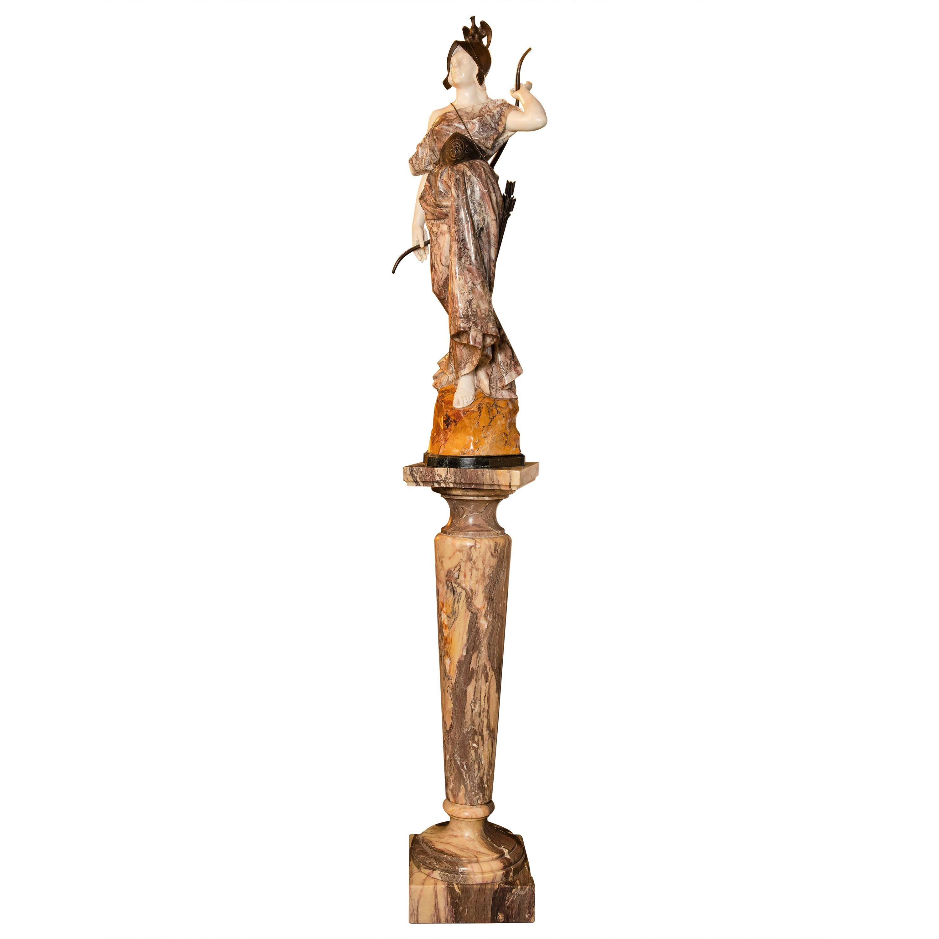 Marble and Broze Artemisa Sculture, Signed Pugi, Italy, circa 1870