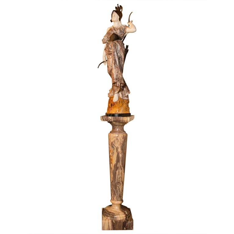 Marble and Broze Artemisa Sculture, Signed Pugi, Italy, circa 1870 For Sale