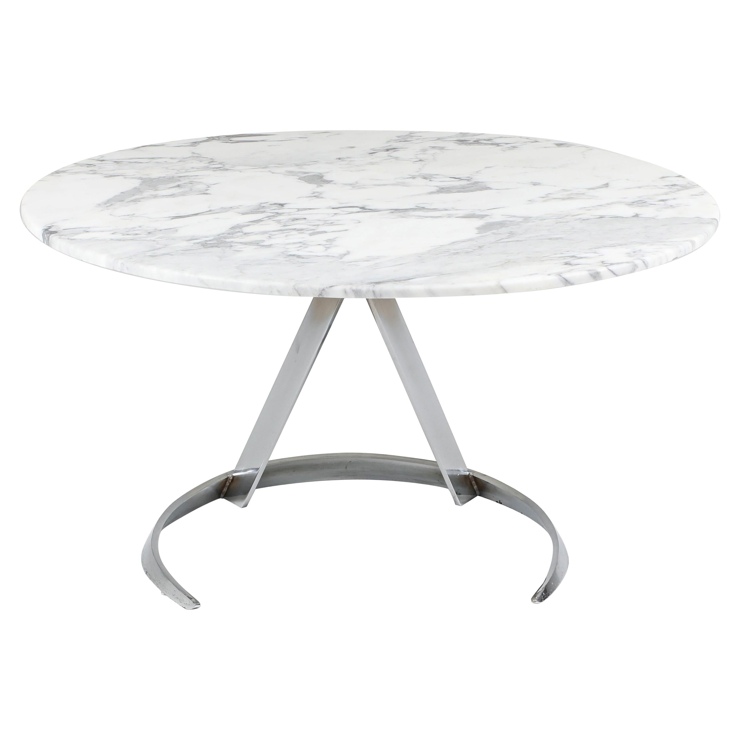 Marble and Chrome Boris Tabaccof Dining Room Table