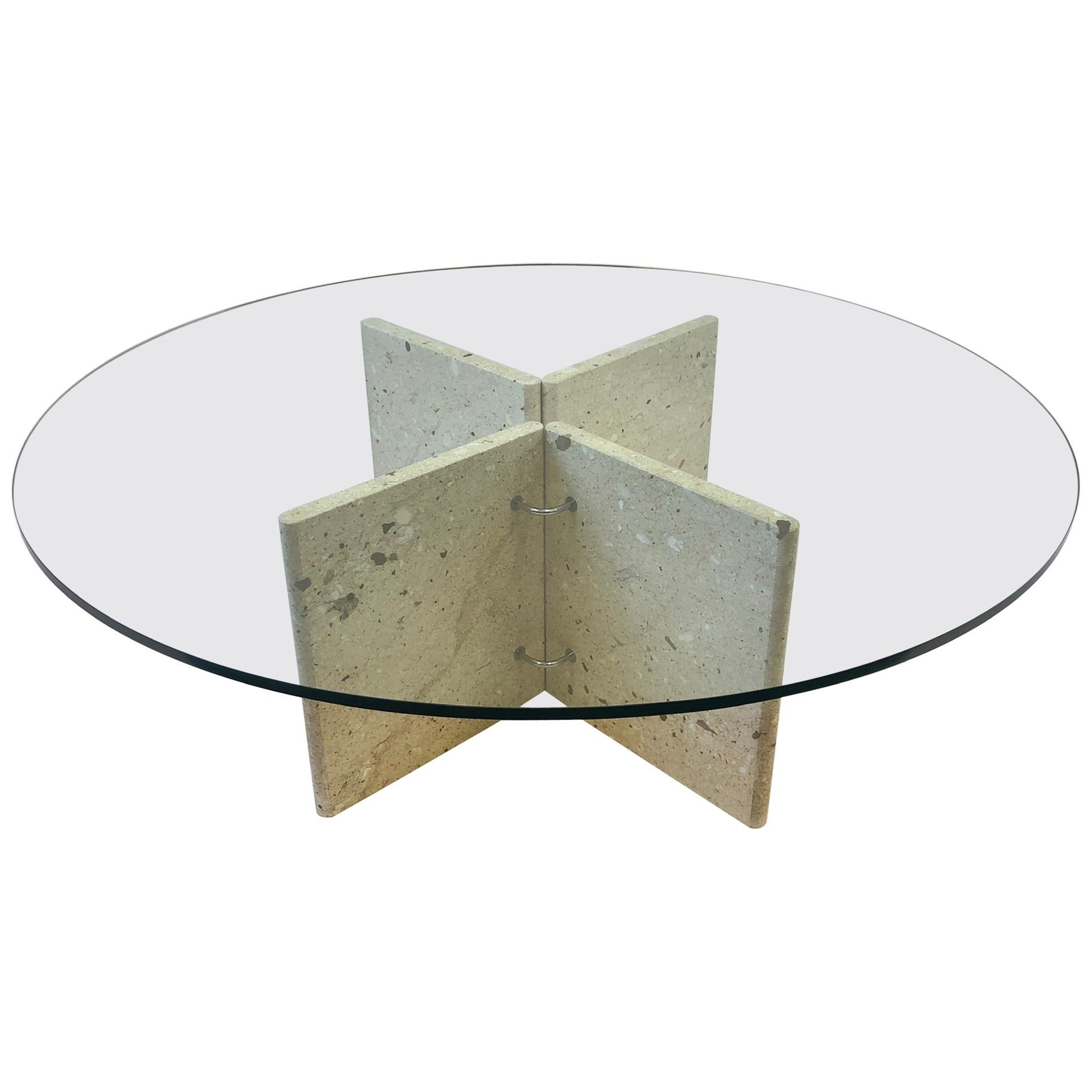 Marble and Chrome Cocktail Table