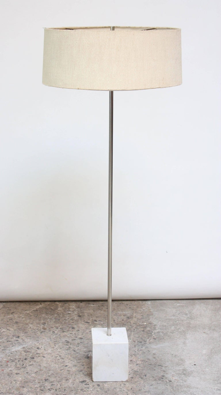 Mid-Century Modern Marble and Chrome Floor Lamp by Laurel For Sale