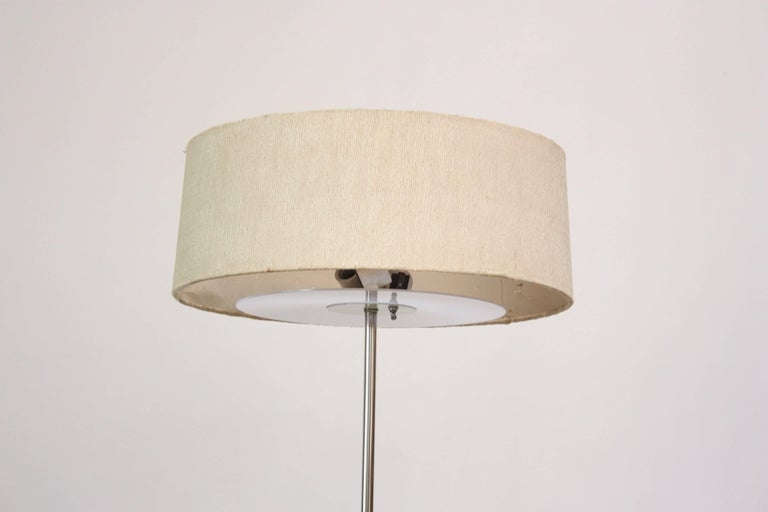 American Marble and Chrome Floor Lamp by Laurel For Sale
