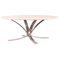 Marble and Chromed Metal Coffee Table
