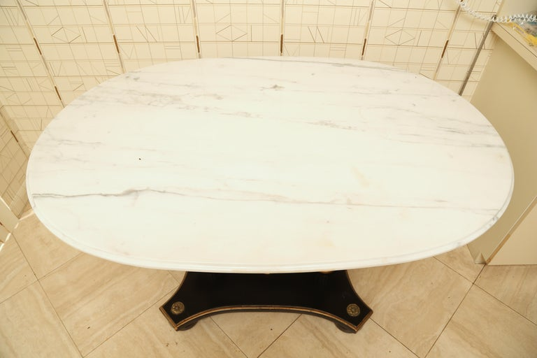 Hollywood Regency Marble and Ebonized Oval Centre Table For Sale