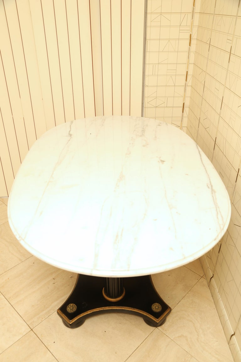 Marble and Ebonized Oval Centre Table For Sale 1