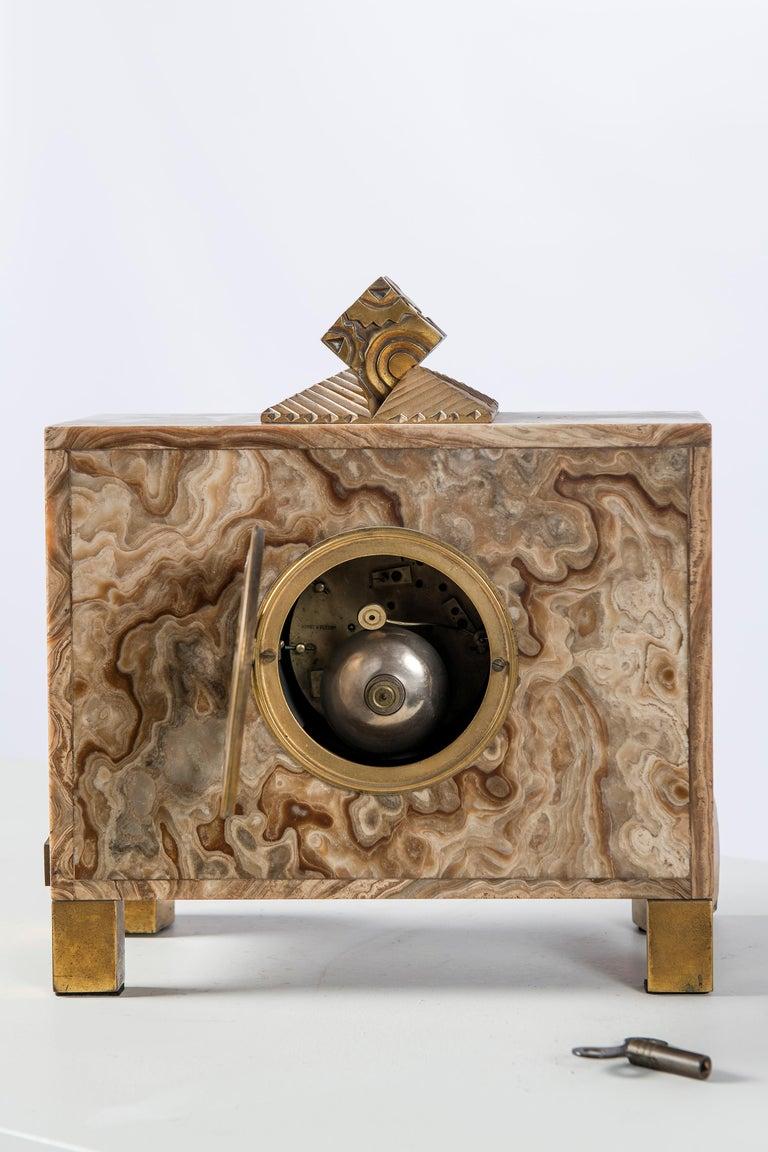 Art Deco Marble and Gilt Bronze Clock, Machine Signed Bonnet and Pottier, France, 1920 For Sale