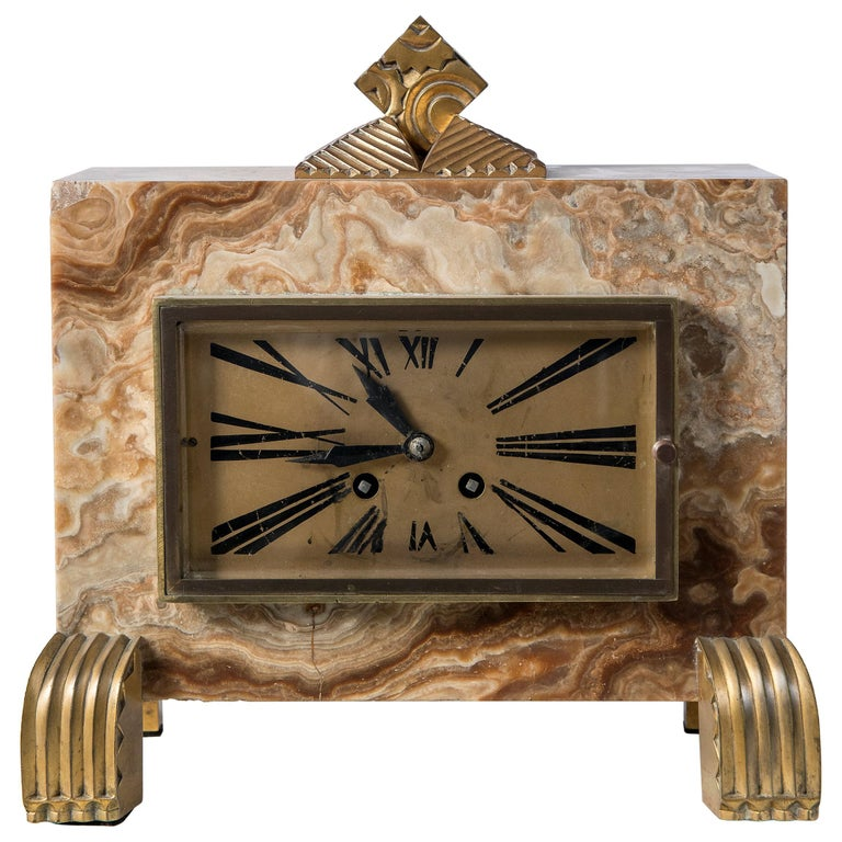 Marble and Gilt Bronze Clock, Machine Signed Bonnet and Pottier, France, 1920 For Sale