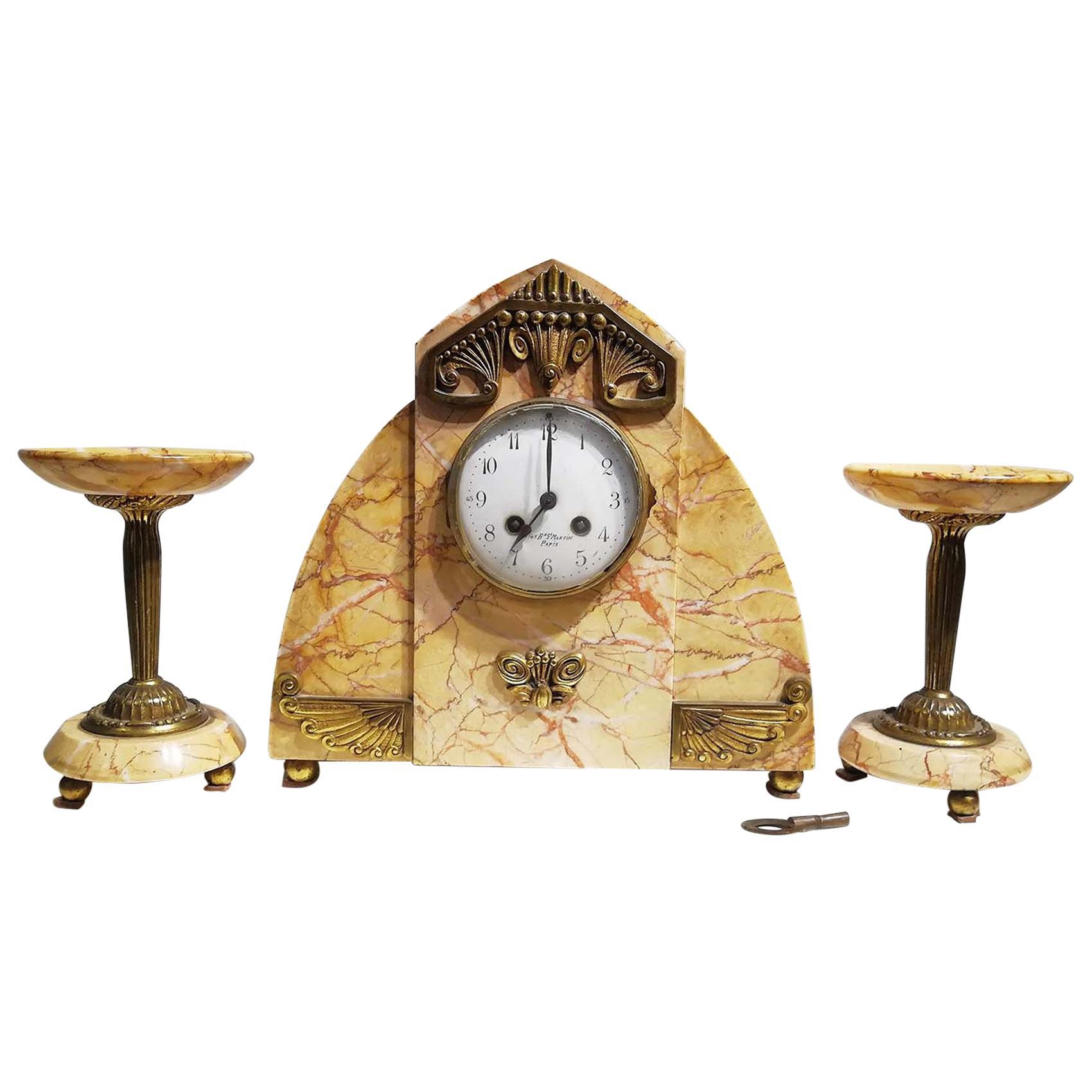 Marble and Gilt Bronze Clock Set, Signed Bonnet and Pottier, France, 1930