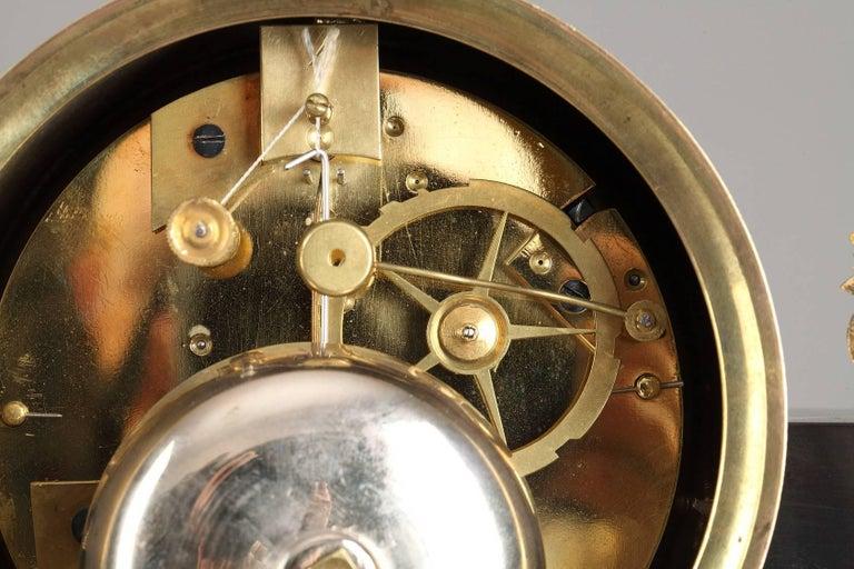 Marble and Gilt Bronze Portico Clock-Empire Period For Sale 4