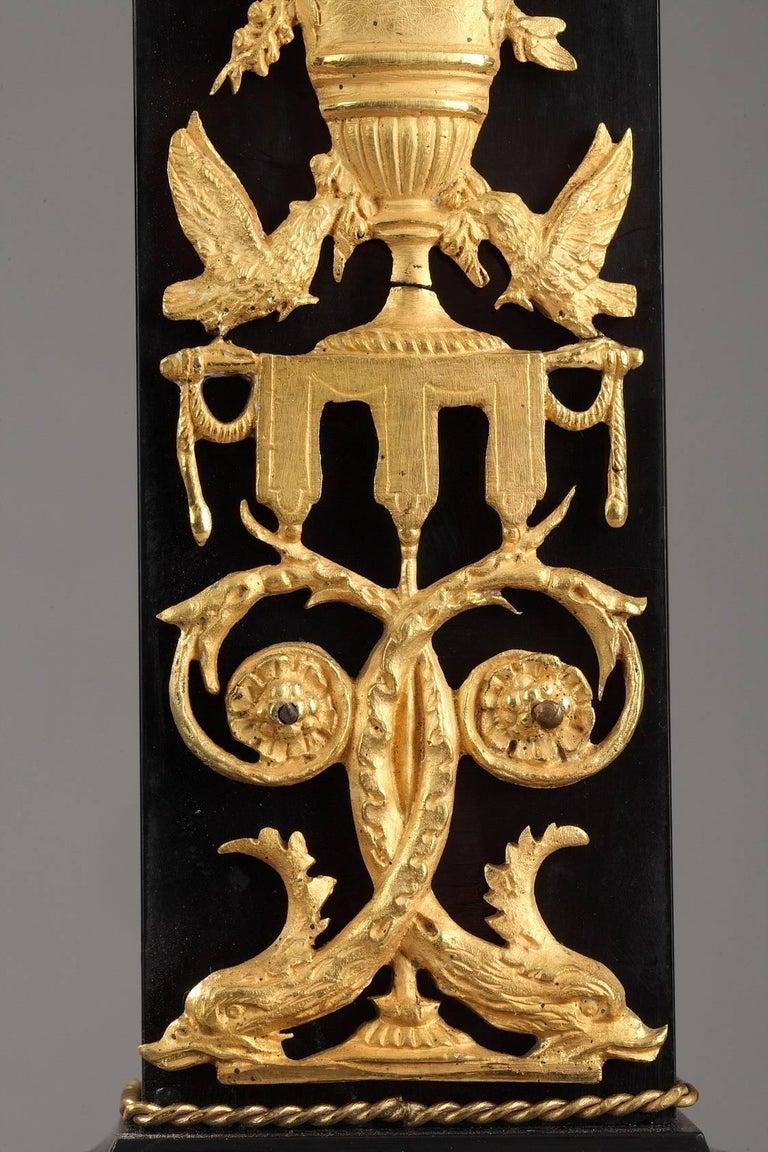 19th Century Marble and Gilt Bronze Portico Clock-Empire Period For Sale