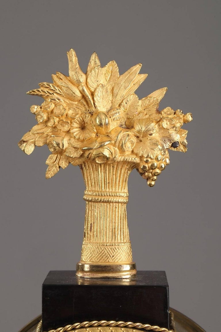 Ormolu Marble and Gilt Bronze Portico Clock-Empire Period For Sale