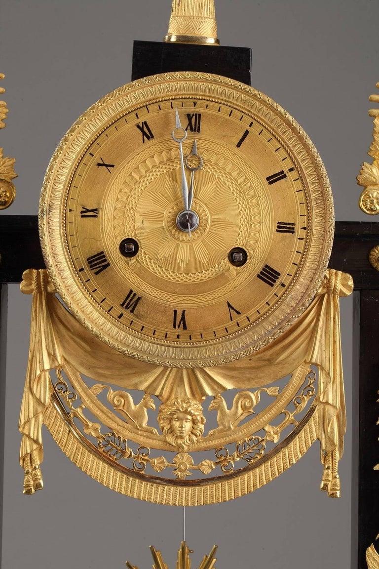 Marble and Gilt Bronze Portico Clock-Empire Period For Sale 1