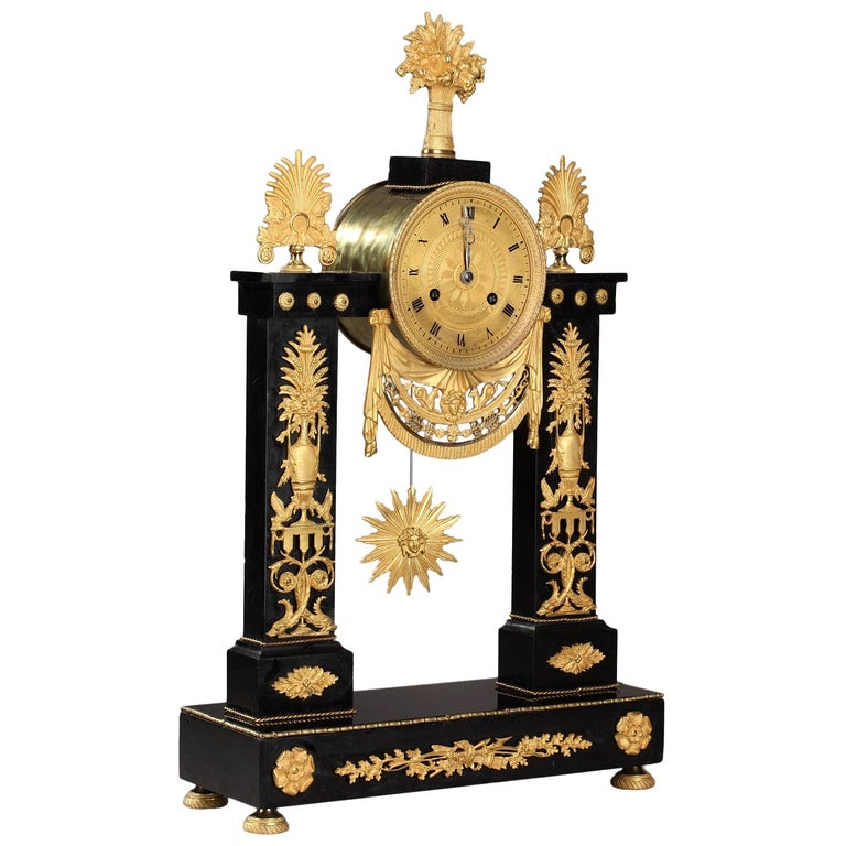 Marble and Gilt Bronze Portico Clock-Empire Period For Sale