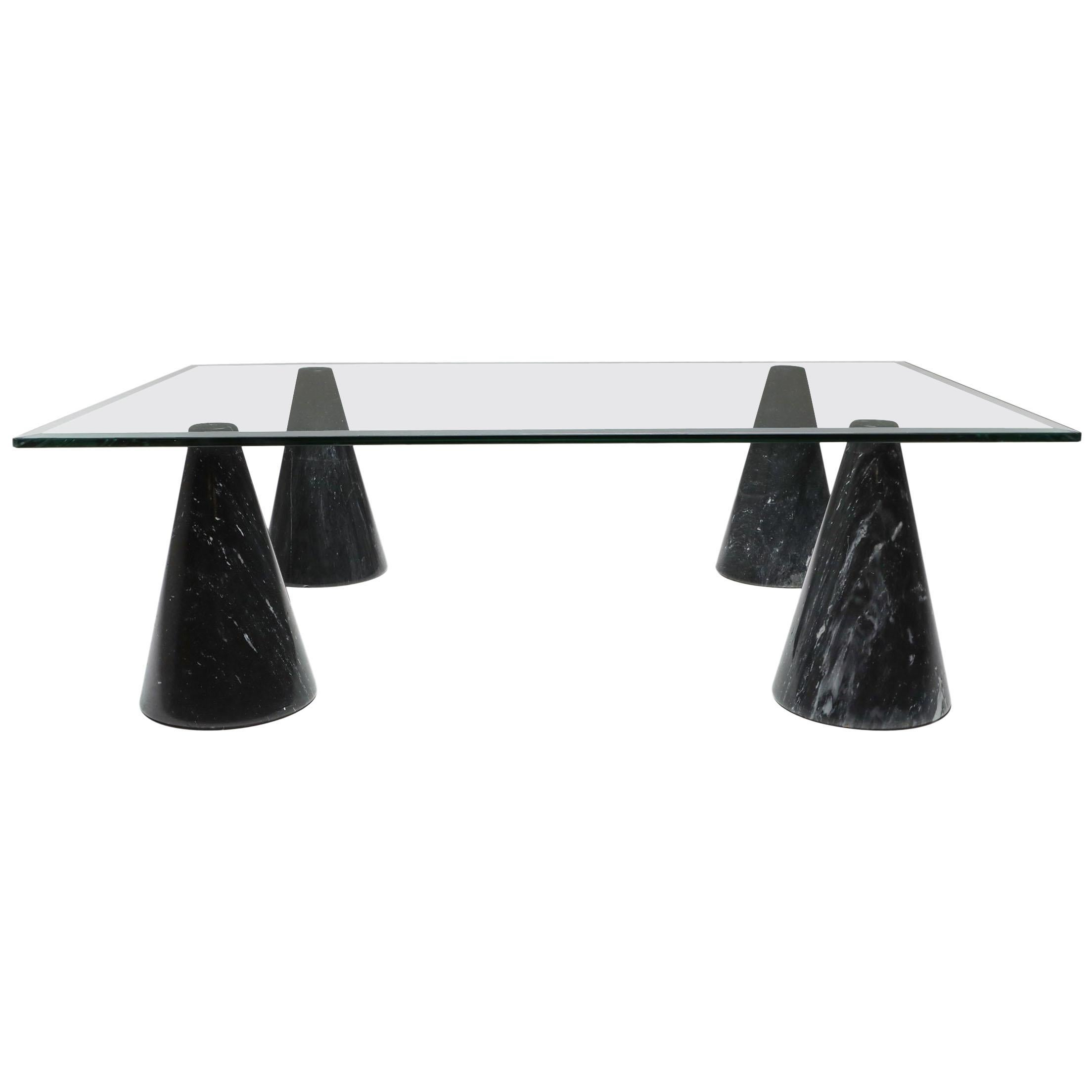 Marble and Glass Coffee Table in the Style of Massimo Vignelli