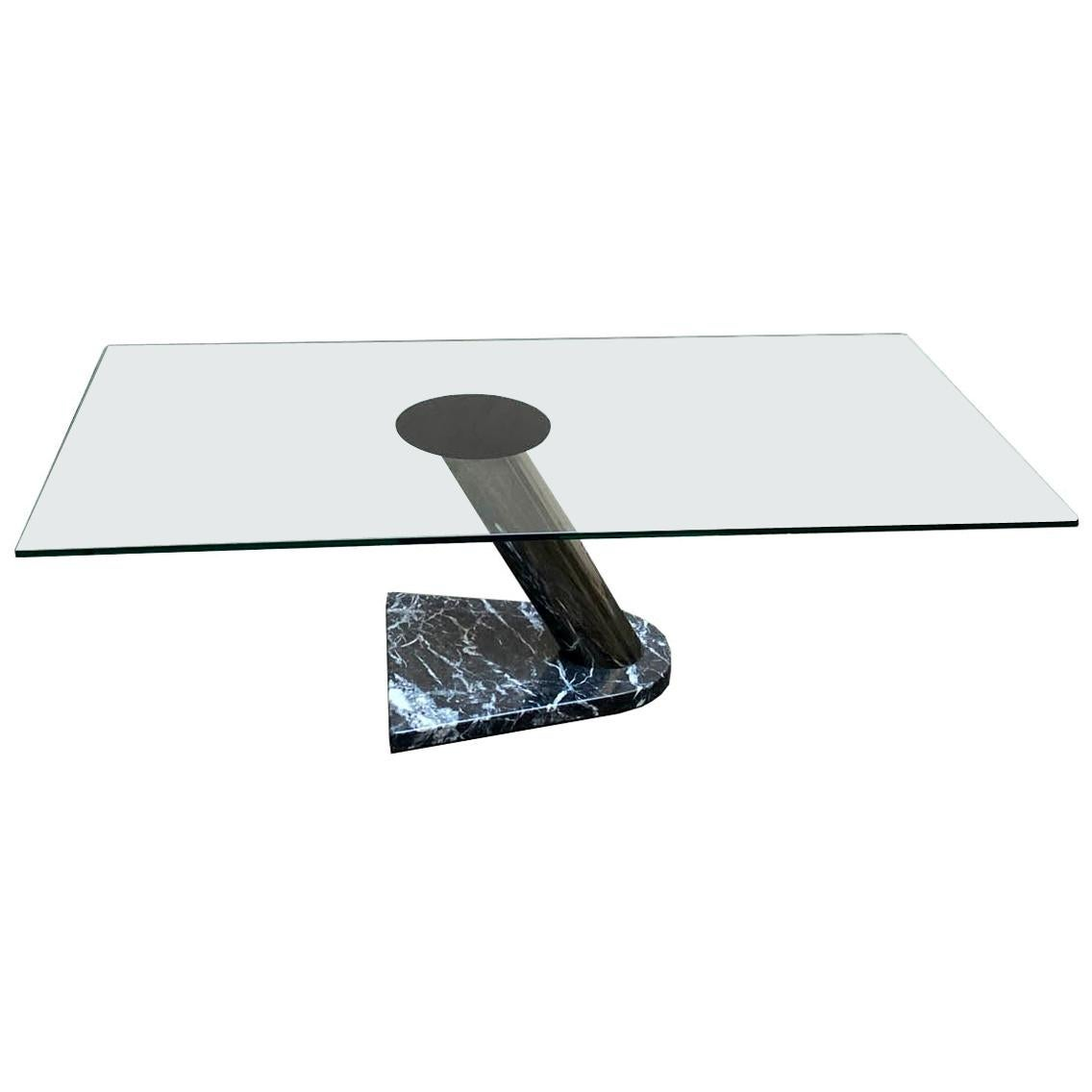 Marble and Glass Coffee Table, Italy, 1980s
