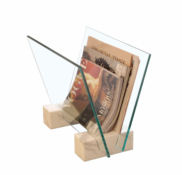 Modern Marble and Glass Magazine Stand For Sale