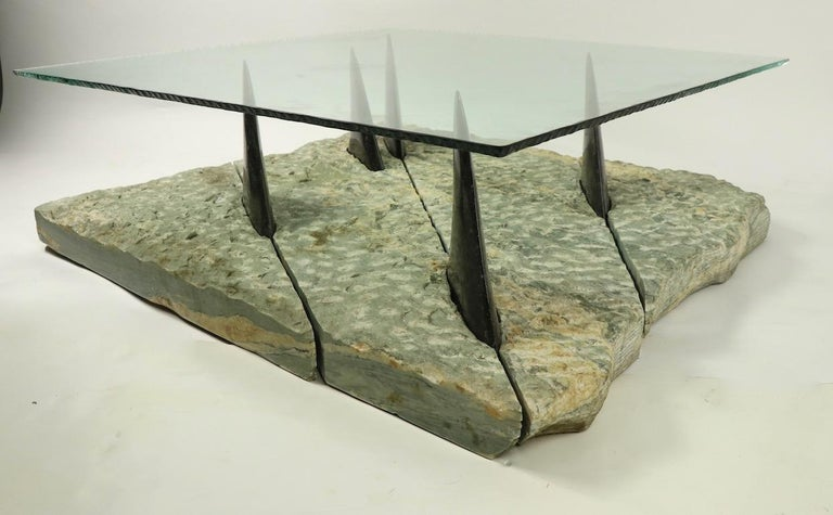 Marble and Glass Shark Fin Table For Sale 9