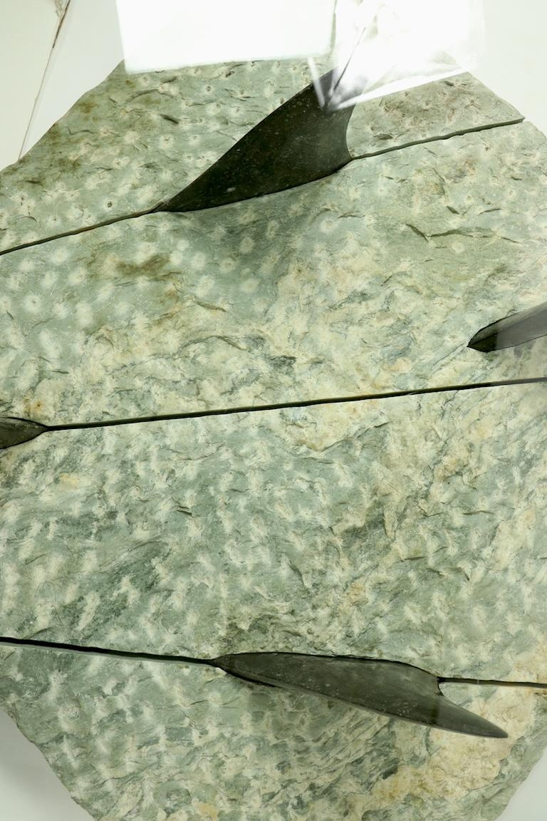 Marble and Glass Shark Fin Table For Sale 12