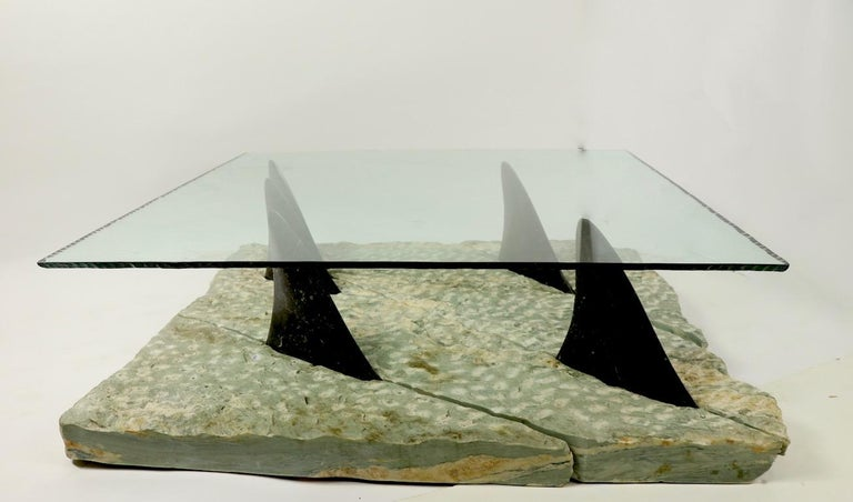 Mid-Century Modern Marble and Glass Shark Fin Table For Sale