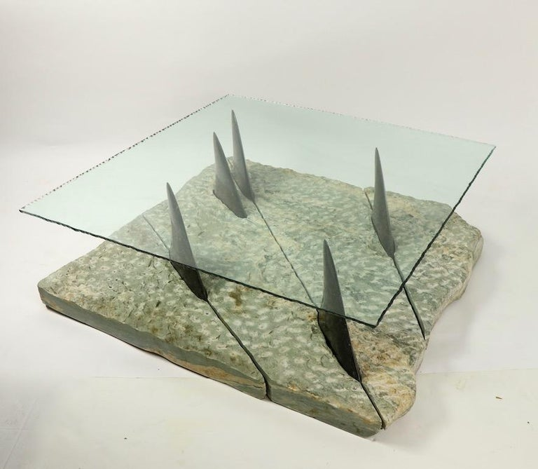 Italian Marble and Glass Shark Fin Table For Sale