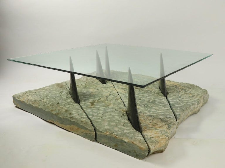 Polished Marble and Glass Shark Fin Table For Sale