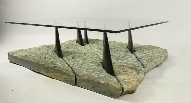 Marble and Glass Shark Fin Table In Good Condition For Sale In New York, NY