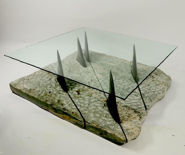 Marble and Glass Shark Fin Table For Sale 1