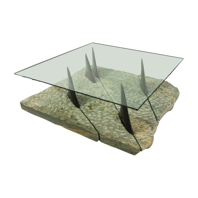 Marble and Glass Shark Fin Table For Sale