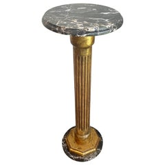 Marble and Glit Wood Pedestal