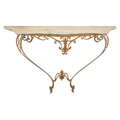 Marble and Gold Wrought Iron Console Table by Pier Luigi Colli, Italy, 1950