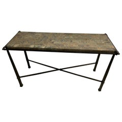 Marble and Iron Side or End Table