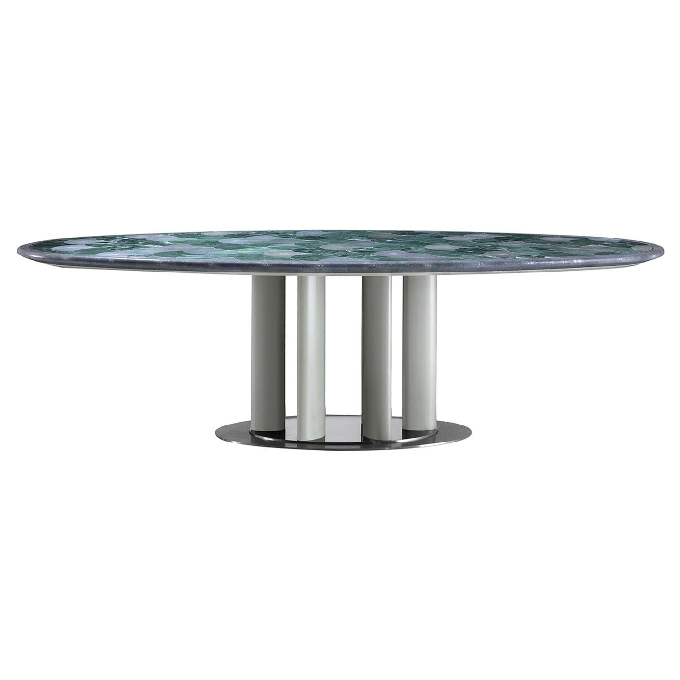 Marble and Leather Oval Dining Table by Simone Ciarmoli e Miguel Queda