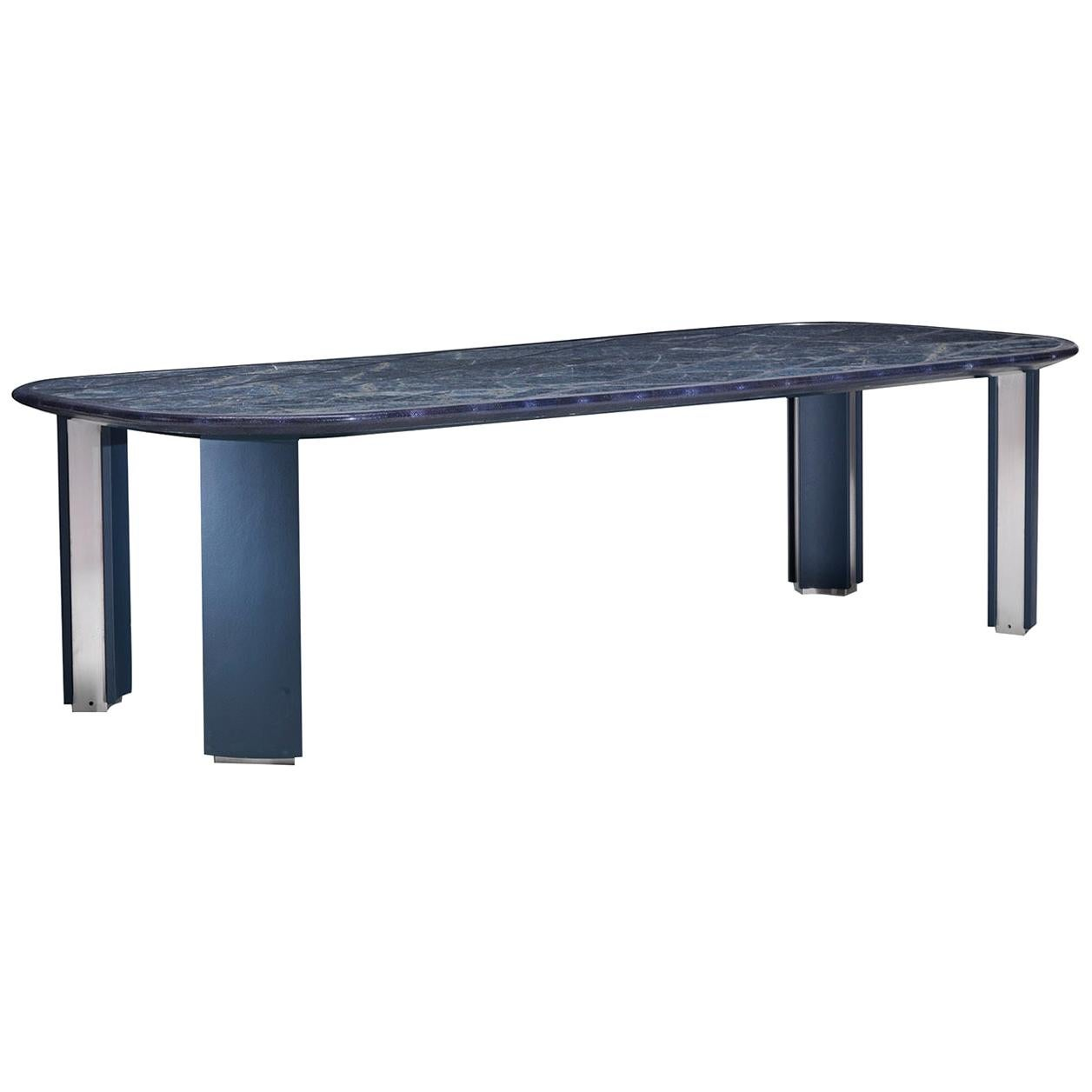 Marble and Leather Rectangular Dining Table by Simone Ciarmoli e Miguel Queda