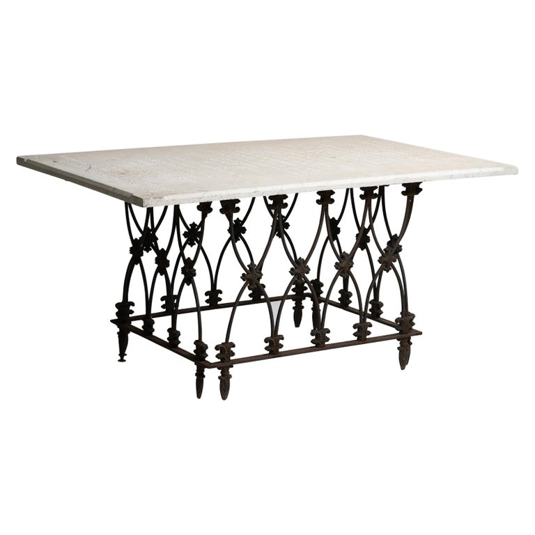 Marble and Ornate Iron Garden Table, America, 19th Century For Sale