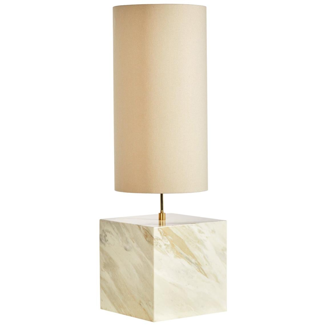 Marble and Recycled Fabric Coexist Table Lamp 'Large' by Slash Objects