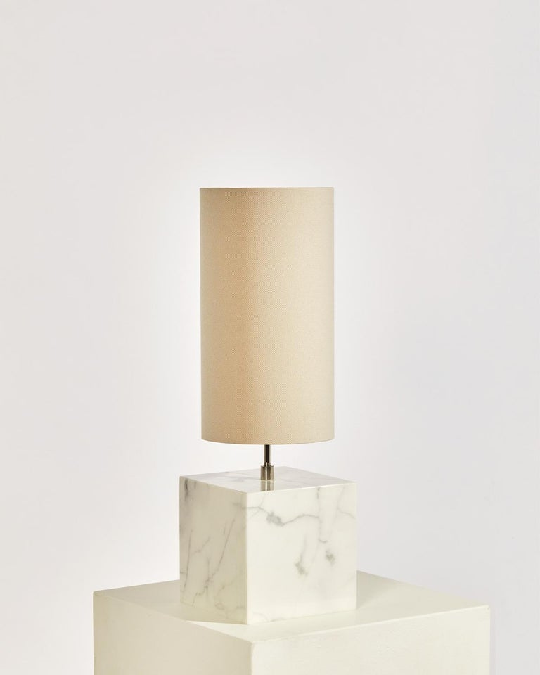 American Marble and Recycled Fabric Coexist Table Lamp 'Small' by Slash Objects For Sale