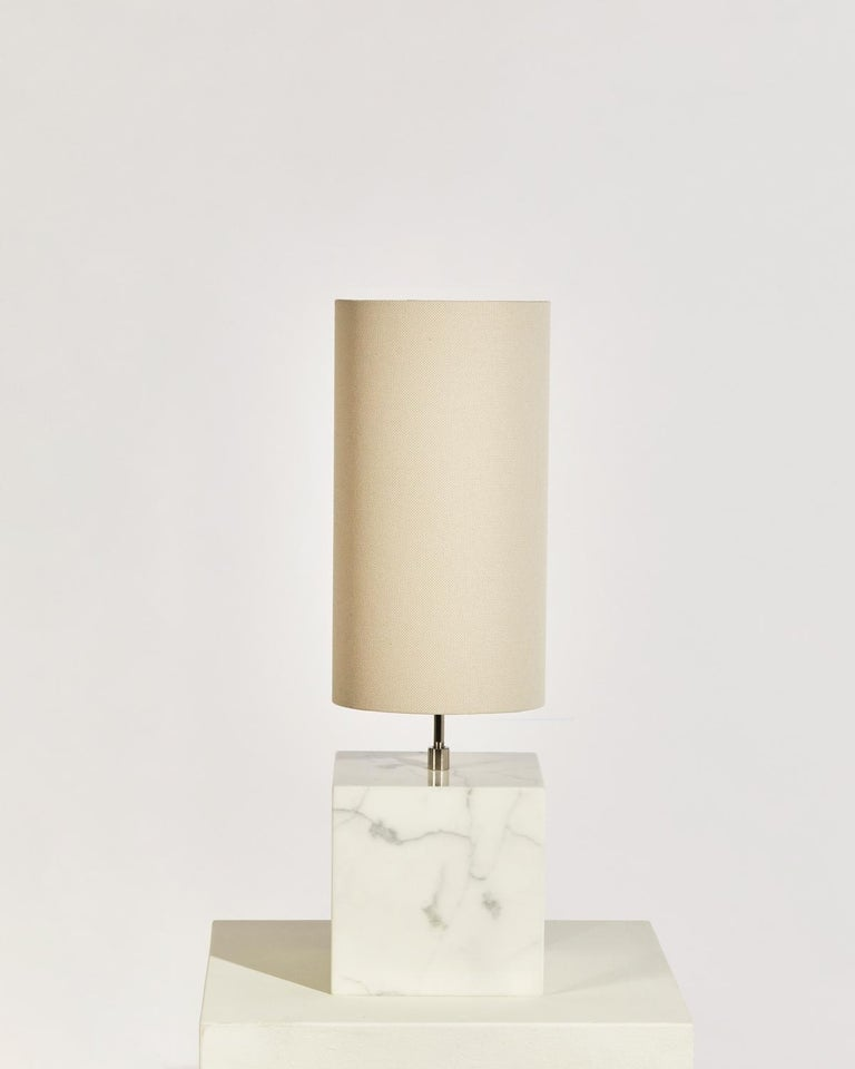 Marble and Recycled Fabric Coexist Table Lamp 'Small' by Slash Objects In New Condition For Sale In Brooklyn, NY