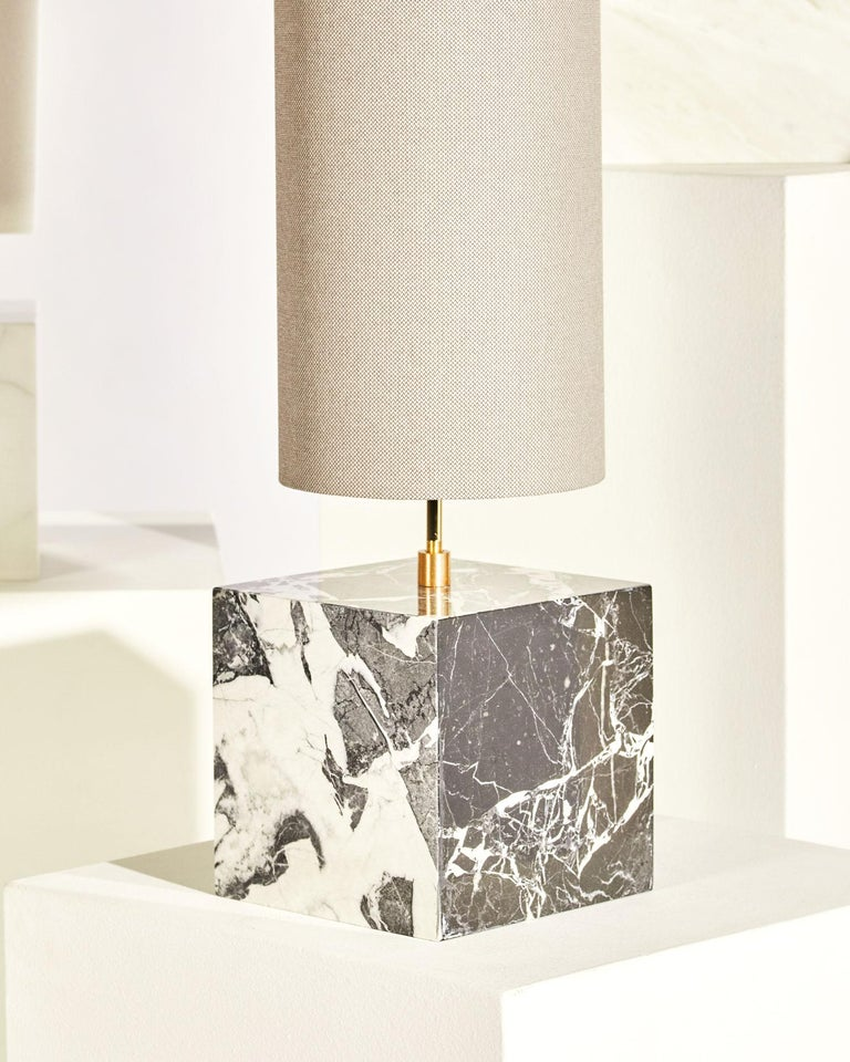 Contemporary Marble and Recycled Fabric Coexist Table Lamp 'Small' by Slash Objects For Sale