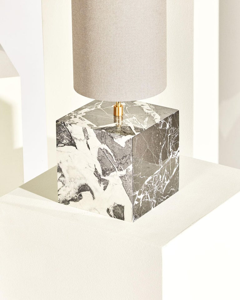 Brass Marble and Recycled Fabric Coexist Table Lamp 'Small' by Slash Objects For Sale