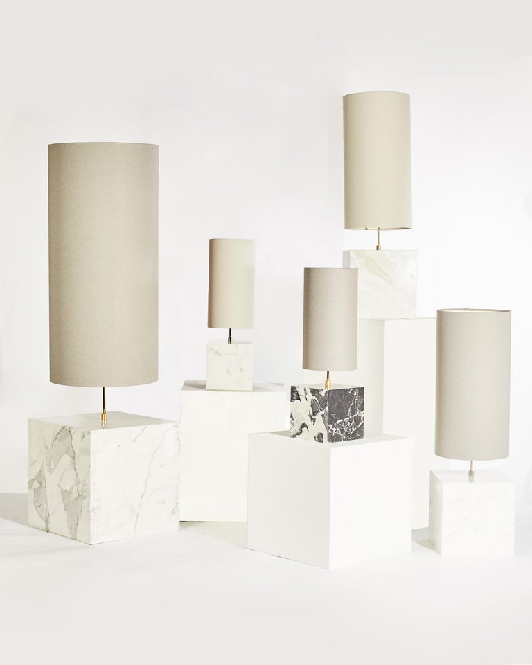 Marble and Recycled Fabric Coexist Table Lamp 'Small' by Slash Objects For Sale 1