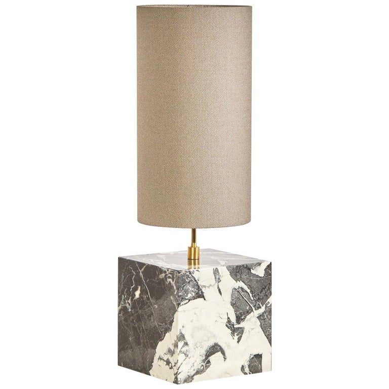 Marble and Recycled Fabric Coexist Table Lamp 'Small' by Slash Objects For Sale