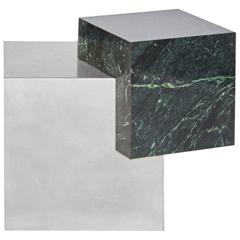 Marble and Stainless Steel Coexist Askew Side Table by Slash Objects