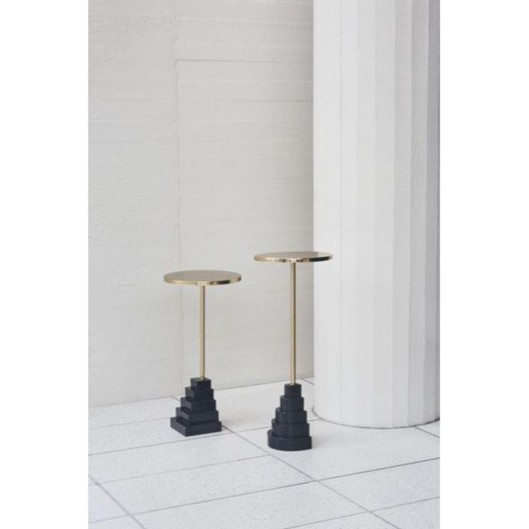 Marble and Steel Black Top Side Table In New Condition For Sale In Geneve, CH