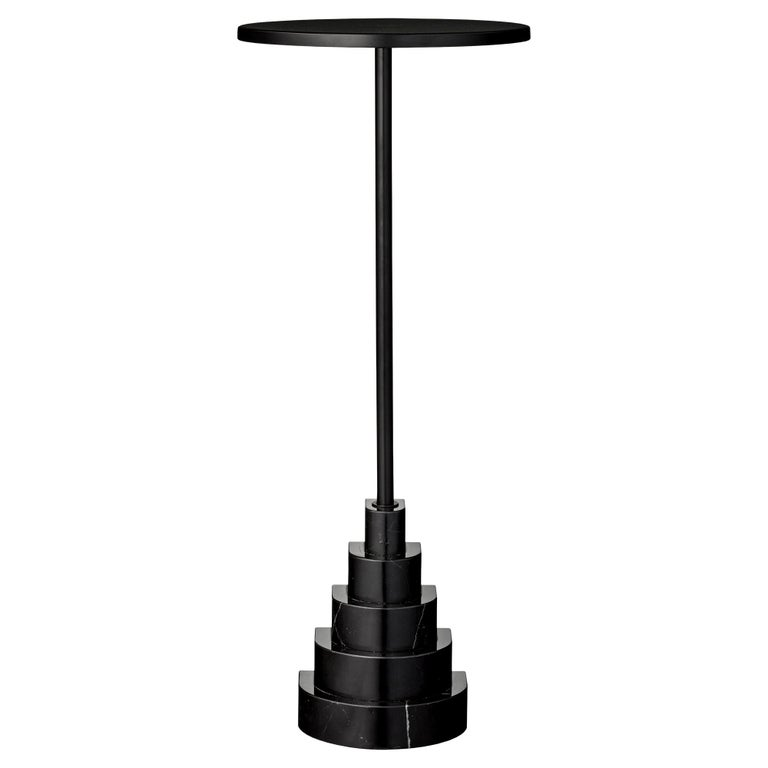 Marble and Steel Black Top Side Table For Sale