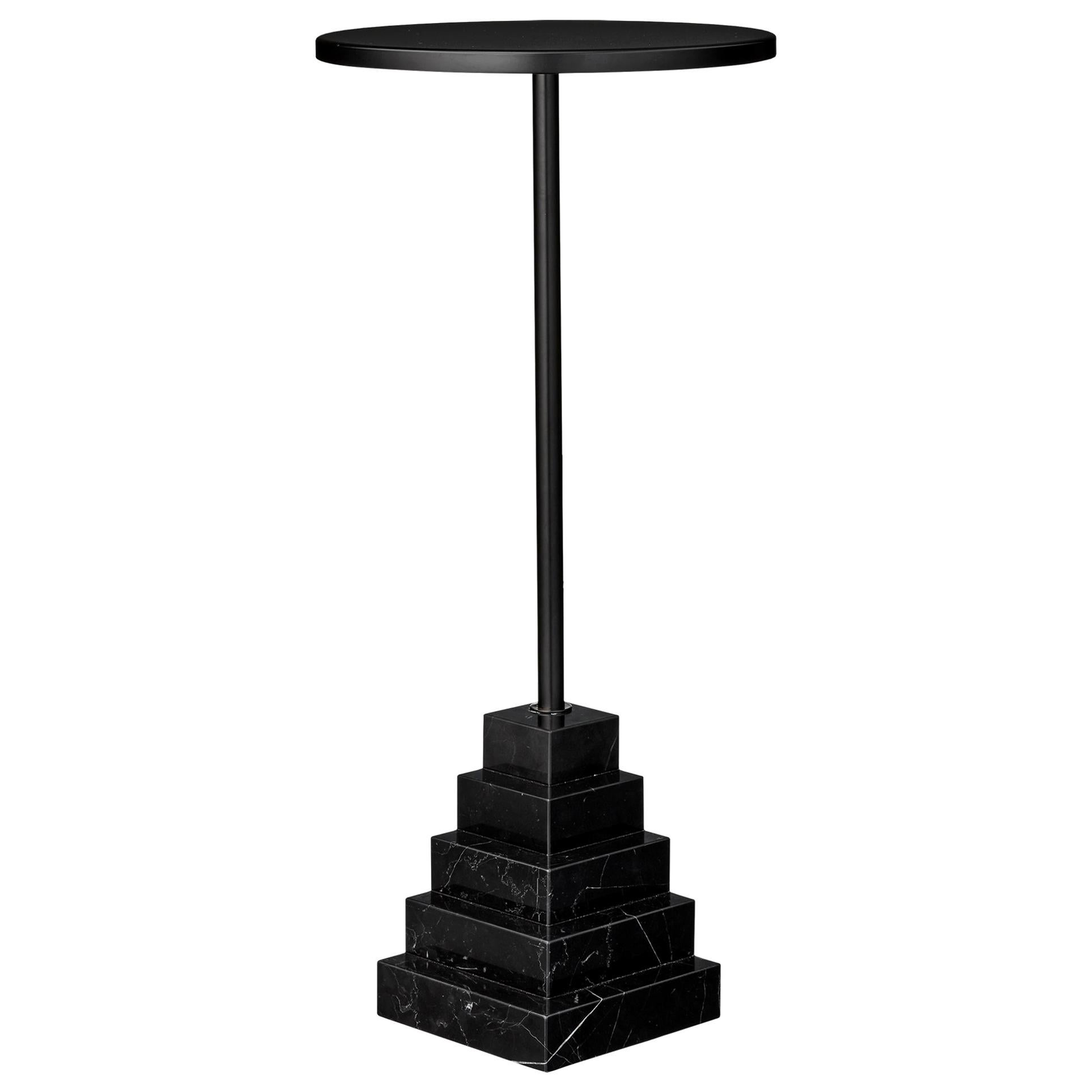 Marble and Steel Black Top Side Table
