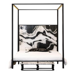 Marble and Steel Canopy Bed