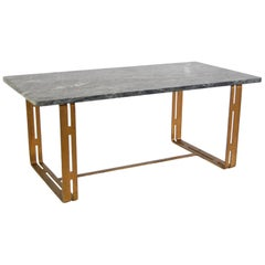 Italian Marble and Steel Coffee Table