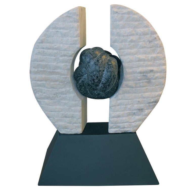 Marble and Steel Sculpture For Sale