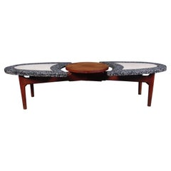 Marble and Walnut Coffee Table in the Style of Adrian Pearsall
